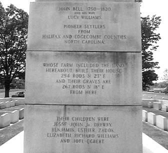Inscription on Bell Monument in Adams, Tennessee